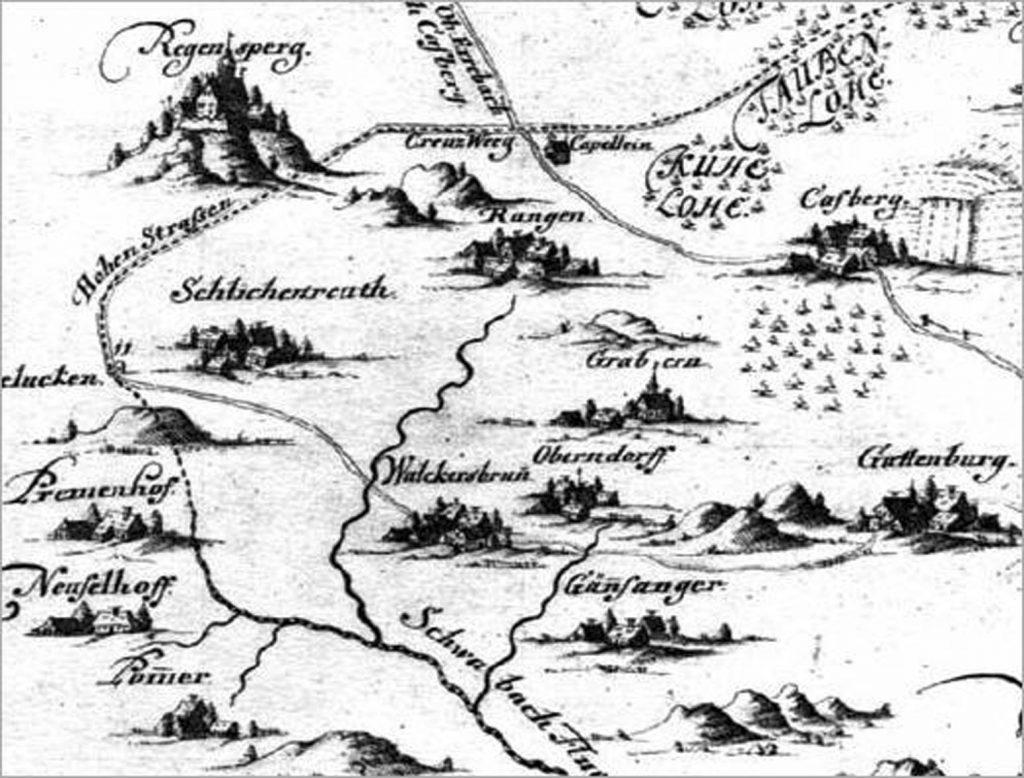 Walkersbrunn und seine Ortsteile auf einer Hiltpoltsteiner Hochgerichtskarte um 1600. Dessen Umgrenzung wird durch die gestrichelte Linie angezeigt. Nach einer Kopie von Christian Ludwig Kaulitz, um 1740.