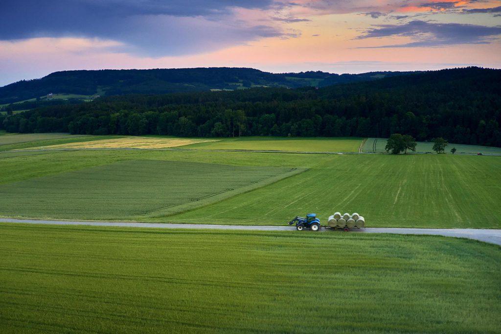 Traktor transportiert Heuballen vor abendlicher Kulisse in Walkersbrunn