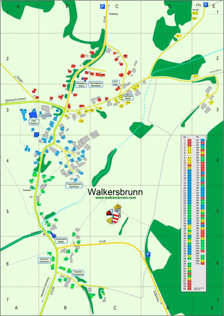 Der Ortsplan von Walkersbrunn