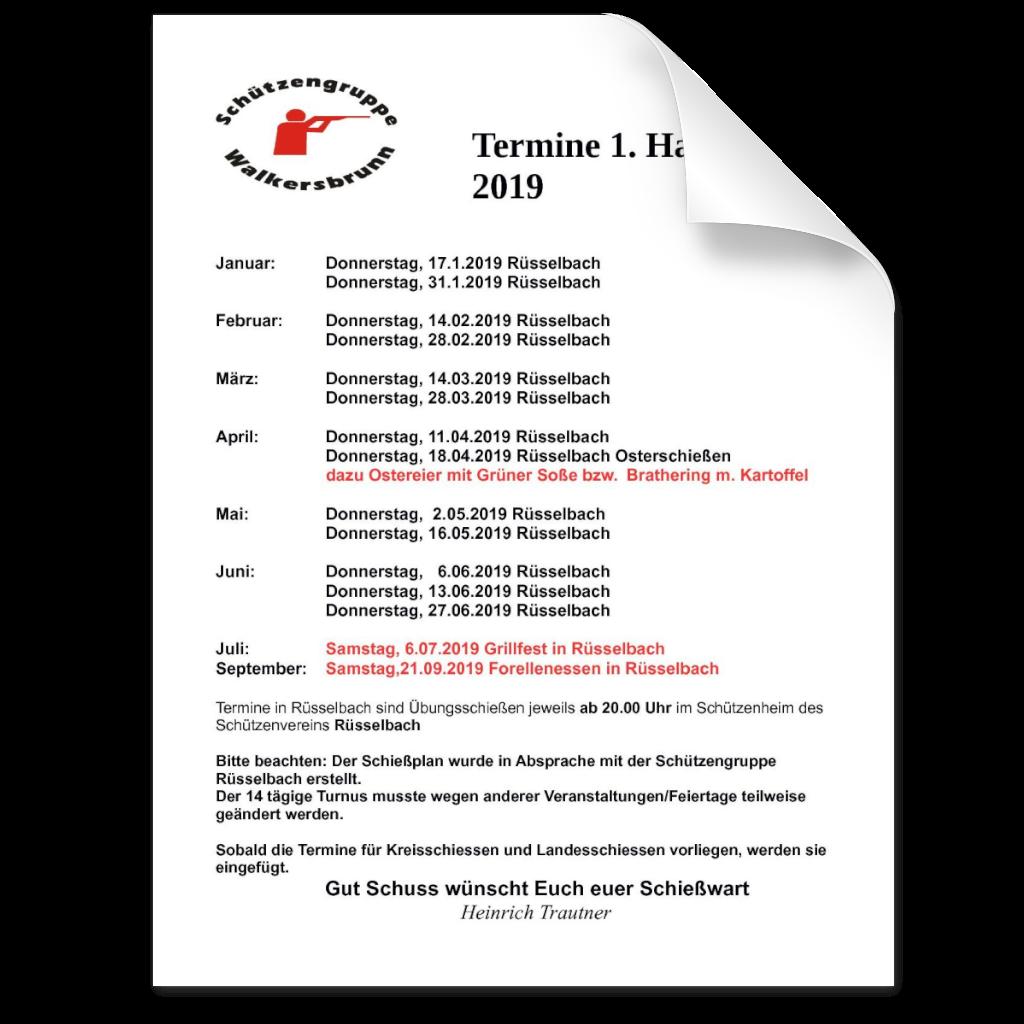 Termine im ersten Halbjahr 2019 der Schützengruppe Walkersbrunn