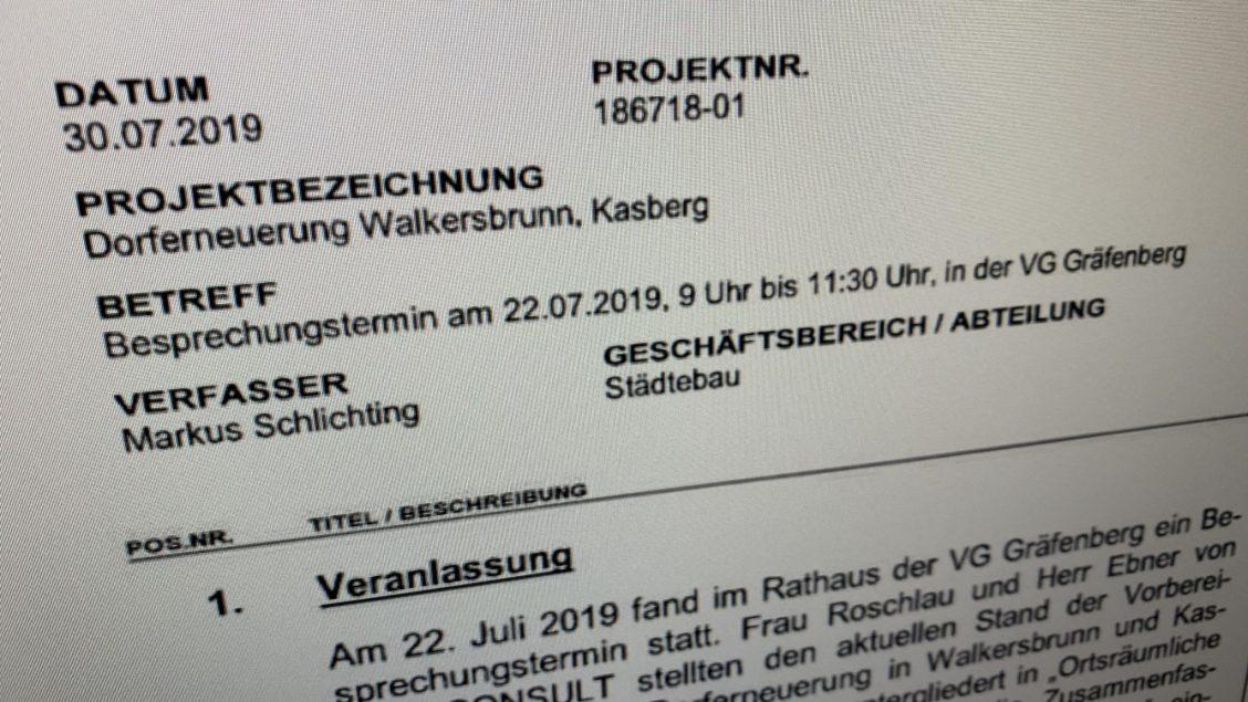 Screenshot der Information zum Projektverlauf im August 2019