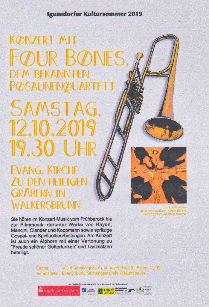 Einladung zum Konzert der Four Bones am 12. Oktober 2019 in der Kirche Walkersbrunn