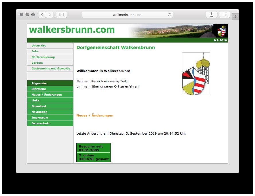 Startseite von walkersbrunn.com – Version 1.0 von 2005-2019