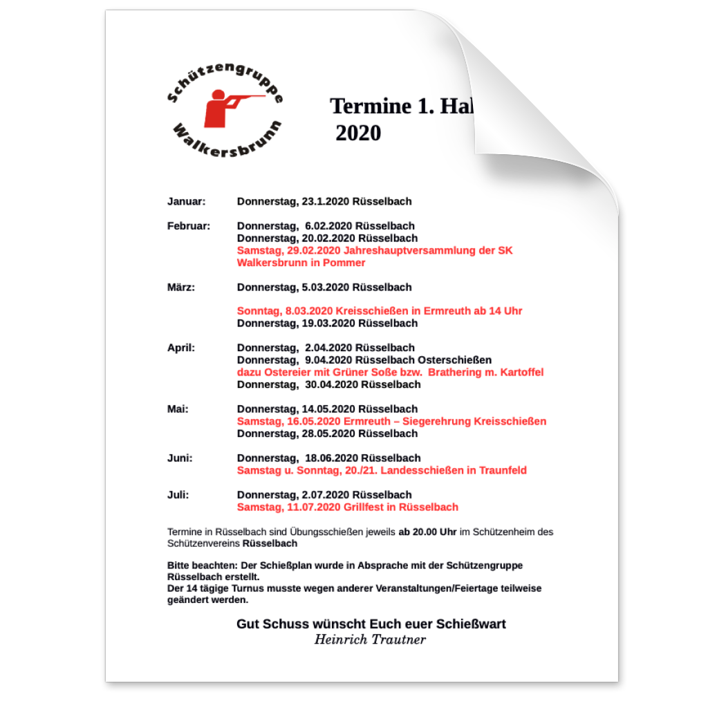 Termine im ersten Halbjahr 2020 der Schützengruppe Walkersbrunn